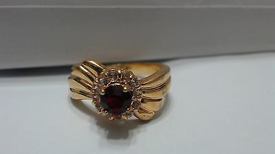 Vintage DAC Ruby Red Whte CZ Ring, Size 10
