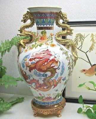 RARE Franklin Mint Chinese  BLESSINGS of the IMPERIAL DRAGON Oriental Vase & COA