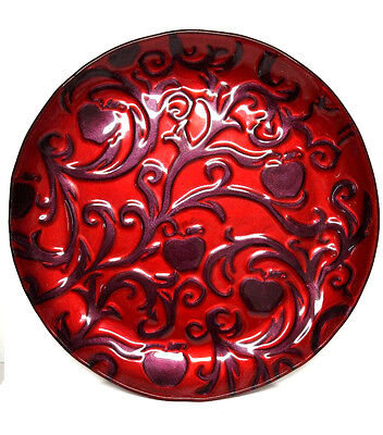 """Disney Snow White Wicked Beauty Fused Glass Platter Apple Red Purple 18"""" Large"""