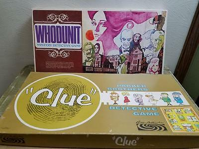 Vintage Parker Brothers 1960 Clue 1972 S & R Whodunit Detective  Board Game Lot