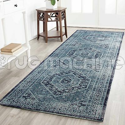 KUBA BLUE MEDALLION OVERDYED COTTON VINTAGE PERSIAN LOOK RUG RUNNER 80x300cm NEW
