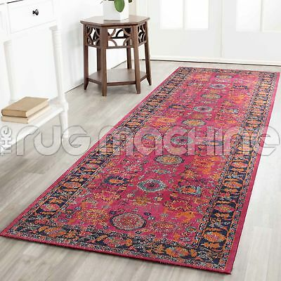 KUBA PINK CHOBI OVERDYED COTTON VINTAGE PERSIAN LOOK RUG RUNNER 80x400cm **NEW**