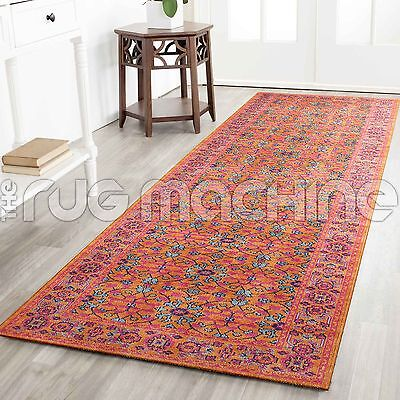 KUBA RUST ALLOVER OVERDYED COTTON VINTAGE PERSIAN LOOK RUG RUNNER 80x300cm *NEW*