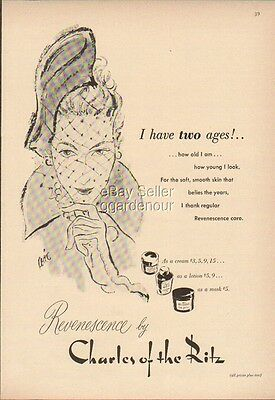 1948 Charles of Ritz Revenescence Cosmetics Vintage Make-Up 40s Beauty Cream Ad