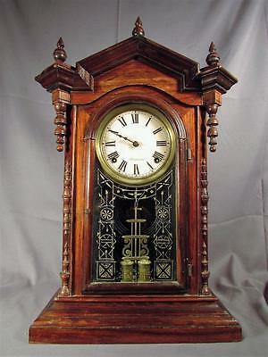 Antique EN Welch Cabinet Parlor 8 day Clock - circa 1880 - Rosewood - Runs