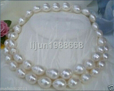 "New huge 35""10-11MM SOUTH SEA WHITE PEARL NECKLACE AAA"