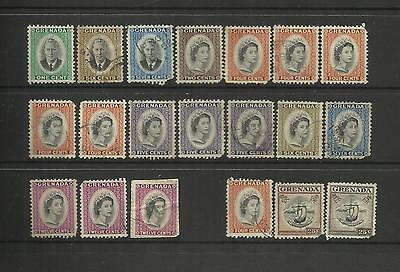 Grenada ~ 1951-53 Definitives George Vi & Qe Ii (Used Faults)