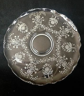 "Heisey Orchid Etched Glassware 1940s 14"" Large Round Serving Platter Torte Plate"