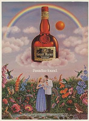1985 Grand Marnier Liqueur Paradise Found Couple Rainbow Gallardo art Print Ad