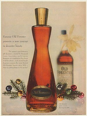 1954 Old Forester Bourbon Whisky Raymond Loewy Associates Gift Decanter Print Ad