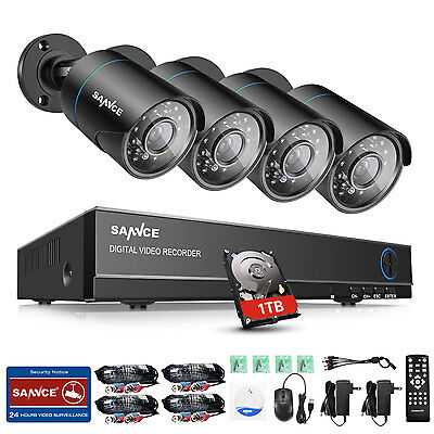 SANNCE 5in1 1080N 8CH DVR 720P In/ Outdoor Security Camera System 1TB P2P Remote
