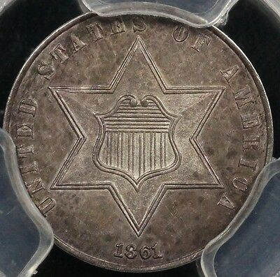 1861 3CS Three Cent Silver PCGS MS 63
