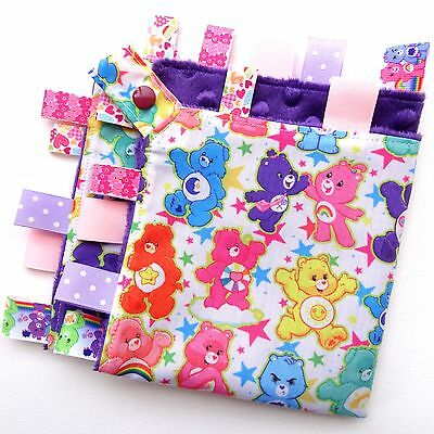 LARGE Size Care Bears Taggie Security Blanket Toy Comforter dummy clip holder