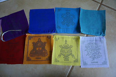 Auspicious 8 symbols Good luck Tibetan Prayer Flags mantra Nepal MINI 9cm x 9cm