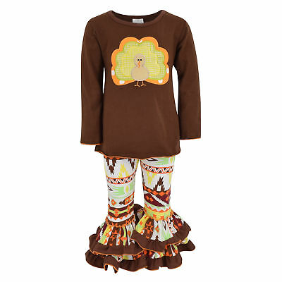 Unique Baby Girls 2 Piece Turkey Fall Colors Thanksgiving Legging Set Outfit