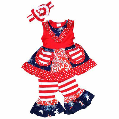Girls 4th of July Tank Boutique Outfit with Headband 1 year 2t 3t 4t 5 6 7 8