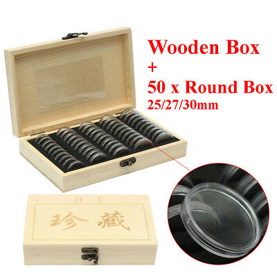 Wooden Coins Display Storage Box Case +50 Round Box Slab Certified Capsules UK
