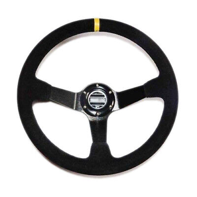 New 350mm /13.8inch Deep Dished Sport Racing Suede Alloy Steering Wheel Black