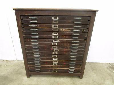 D16038 Antique Rustic Timber 18 Drawer Printers Trays Cabinet