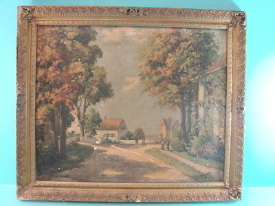 Early Vtg Amish Autumn Style Offset Lithograph Framed A Thyssen Golden Sunbeams