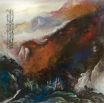 vintage Chinese painting Zhang Daqian 張大千 School landscape watercolour brush art