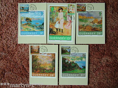 Guernsey Stamp cards FDI Front No 4 Centenary of Renoirs Visit 1983. 5 card set.