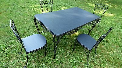 Salterini Vintage Mid Century Modern Wrought Iron Dining Set Table 4 Chairs