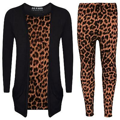 Girls Top Kids Leopard Print Stylish Cardigan & Fashion Legging Set 7-13 Years