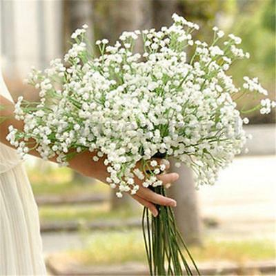1-100pcs White Gypsophila Silk Artificial Flowers Bouquet For Home Wedding Party