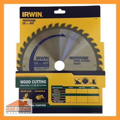 Circular Saw Blade 254mm Irwin Professional Diamond Ground Tungsten Carbide Tips