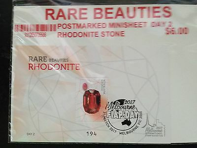 Melbourne 2017 Stamp Show Rare Beauties Rhodonite M/S Postmark Numbered Day 2