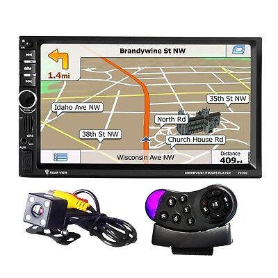 "Bluetooth 2-Din 7"" GPS Car Stereo MP5 Player Touch Screen FM Europe Map +Camera"