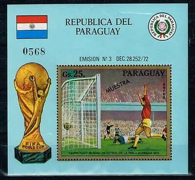 "Paraguay.1974 World Cup.Soccer.Football.Fussball.""Muestra"".MNH**"