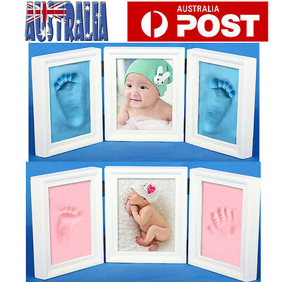 Unique DIY Baby Hand Footprint Impression Casting Kit with Photo Picture Frame
