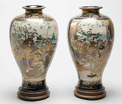 Pair of Antique Meiji Japanese Satsuma Ware Vases with Children & Warriors