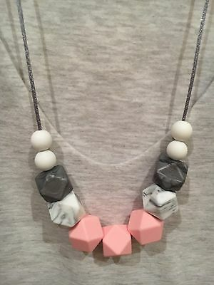 Silicone Sensory Necklace for Mum (was teething) Gift Beads Aus Sell PINK