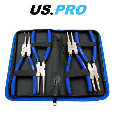 "US PRO 4 Piece 9"" NI-FE Finish Circlip Plier Set In Zip Case 1822"