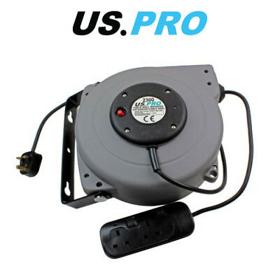 US PRO 15 Meter Wall Mounted Extension Cable Reel 240V 2300