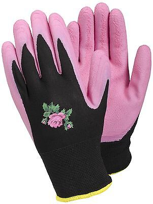 Tegera Pink Latex Water Repellent Palm Ladies Gardening Work Gloves XS S M L