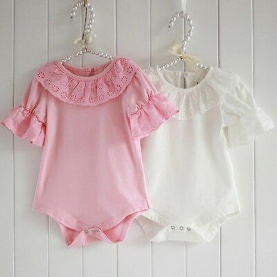 Baby Girls Boutique Vest Babygrow Romper Ivory Pink Vintage Sleeve Frilly Cotton