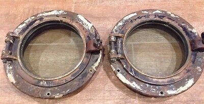 """Lot of 2 Authentic Maritime Antique Solid Brass 8"""" Portholes with flange & Glass"""