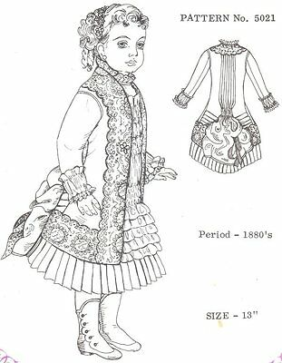 "Period DOLL DRESS PATTERN Victorian  French fits 15"" little darling kish 5021*"