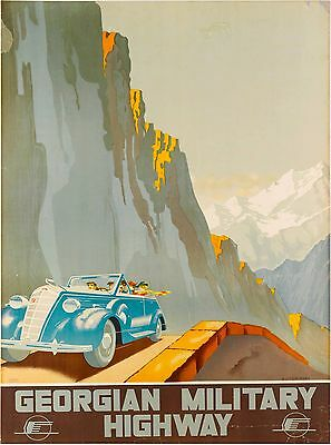 Georgian Military Highway Russia Vintage Russian Travel Advertisement Poster