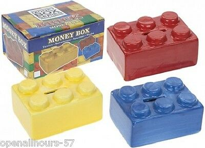 2 x Novelty Ceramic Brick Block Money Box Lego Bank Boxed Red and yellow