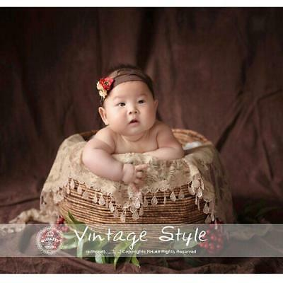 New Newborn Unisex Baby DIY Quilt Photo Props Tassels Lace Wrap Scarf Backdrop