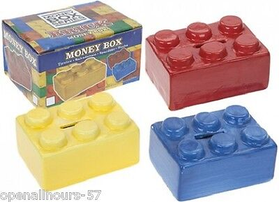 2 x Novelty Ceramic Brick Block Money Box Lego Bank Boxed Blue & Red