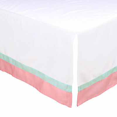 White Tailored Crib Skirt with Coral Pink & Mint Green Trim by The Peanut Shell