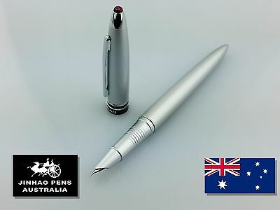 JINHAO 800 Frosted Silver Hooded Fountain Pen Extra Fine Nib + 2 Cartridges