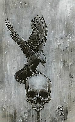 Crow & Skull Study Horror LARGE ORIGINAL Signed Painting By L Dolan 16x26 inches