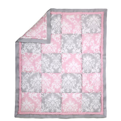 Pink and Grey Damask Patchwork Cotton Baby Crib Quilt by The Peanut Shell